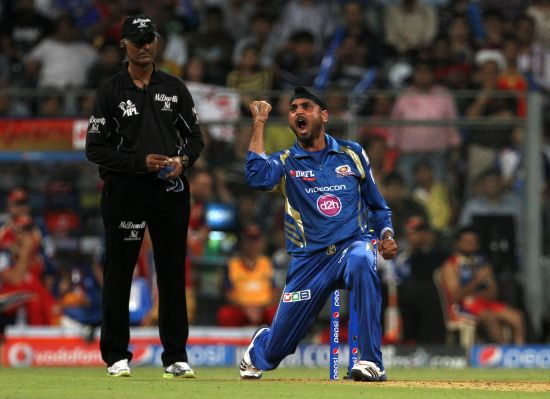 Harbhajan Singh reacts after dismissing Chris Gayle