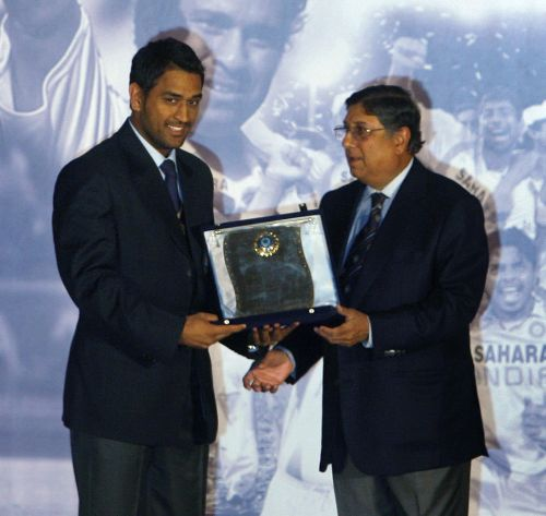 Dhoni and N Srinivasan