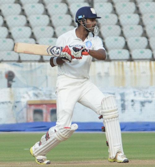 K L Rahul in action.