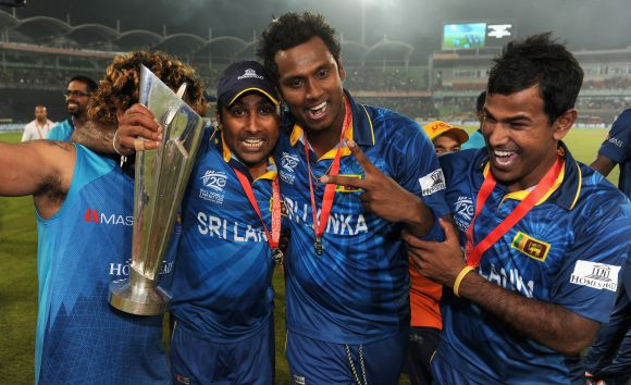 Nuwan Kulasekara, Lasith Malinga, Mahela Jayawardena and Angelo Mathews of Sri Lanka celebrate after winning the ICC World Twenty20