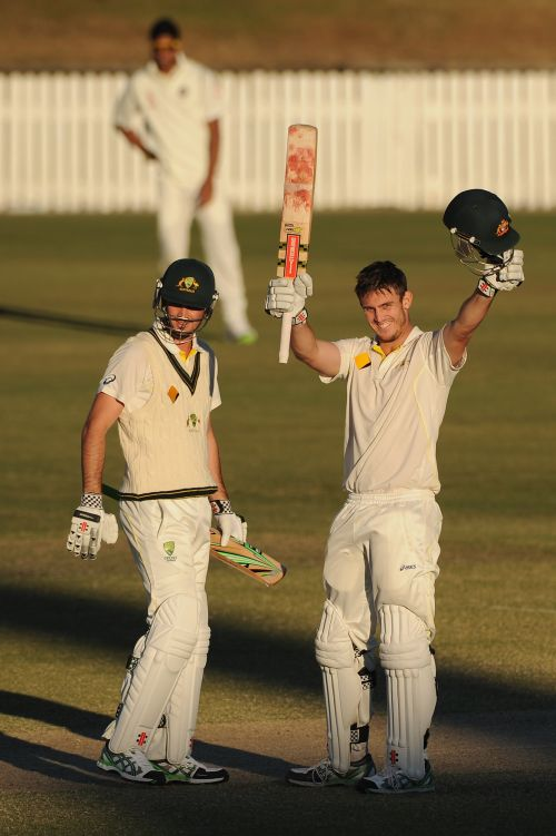 Mitchell Marsh of Australia 'A' celebrates scoring a double century with team-mate Ben Cutting