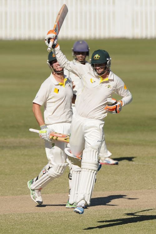 Sam Whiteman of Australia A celebrates scoring his century