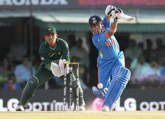 Sachin Tendulkar in action against Pakistan.