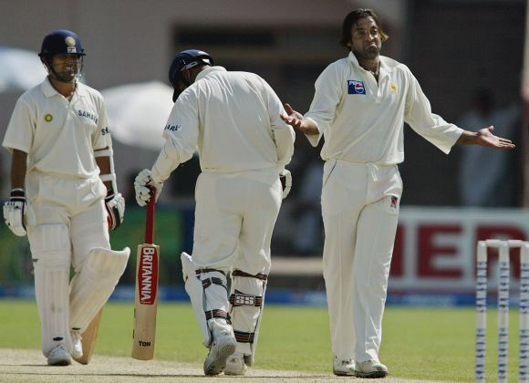 Shoaib Akhtar during the India's tour of Pakistan in 2004.