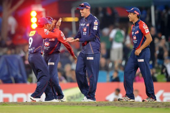 Kevin Pietersen celebrates after picking a wicket