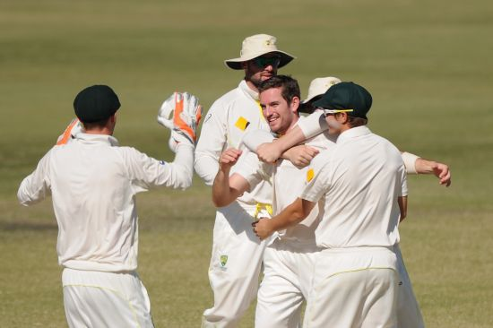 Chadd Sayers celebrates after picking a wicket