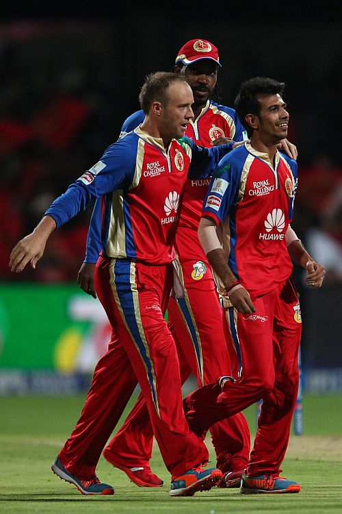 Yuzvendra Chahal celebrates after picking up a wicket