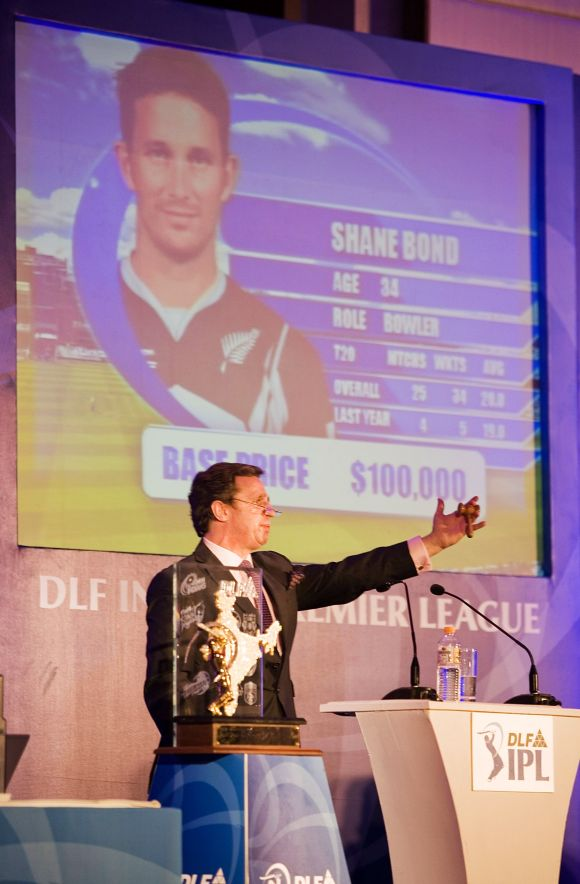 Richard Madley, the celebrity auctioneer, conducts the first IPL auction.