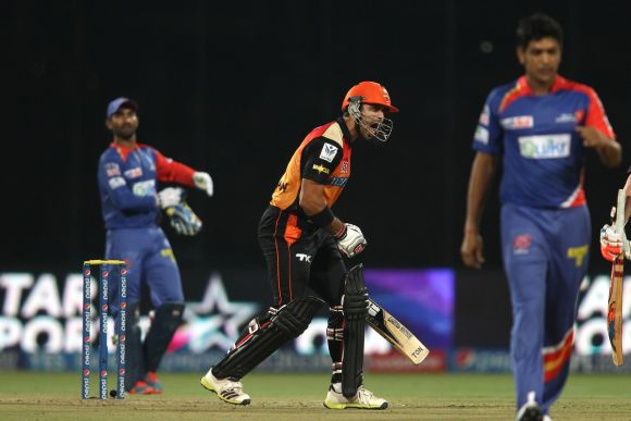 Naman Ojha celebrates after winning the game for Sunrisers.