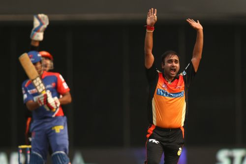 Amit Mishra appeals for a wicket