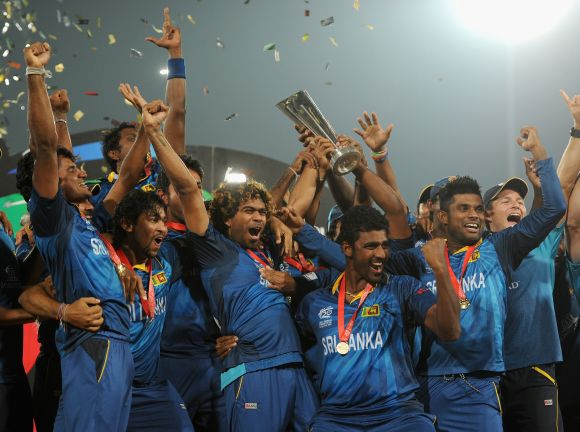 Sri Lankan players celebrate after winning World Twenty20