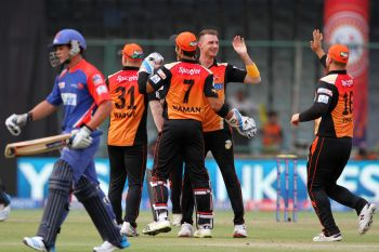 Sunrisers prevail over Daredevils in rain-hit game