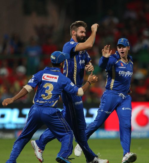 Kane Richardson celebrates after dismissing Virat Kohli