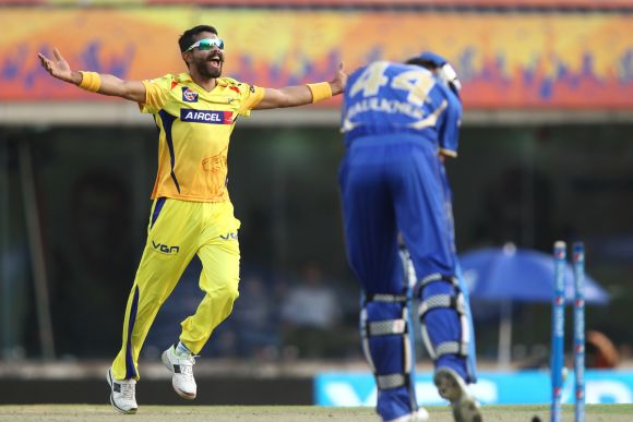 Ravindra Jadeja celebrates after dismissing James Faulkner