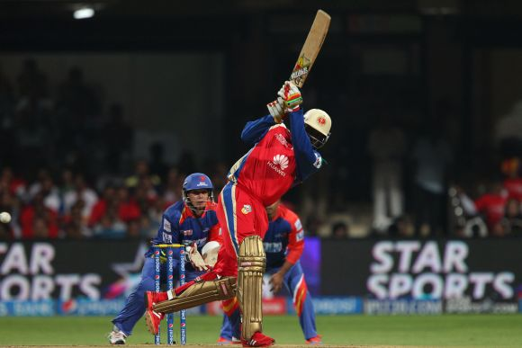 Chris Gayle hits a boundary