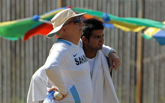 Duncan Fletcher and Suresh Raina