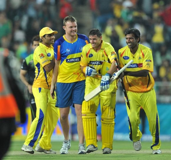 Mike Hussey in Chennai Super Kings colours