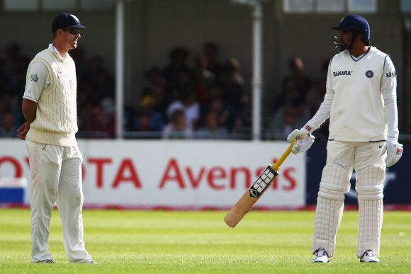 Kevin Pietersen of England talks to Zaheer Khan during Day 3 of the second Test at Trent Bridge