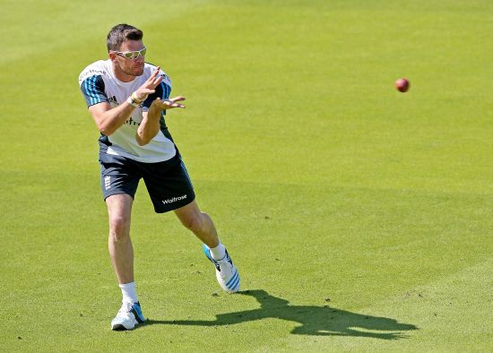 James Anderson during and England nets session at Lords