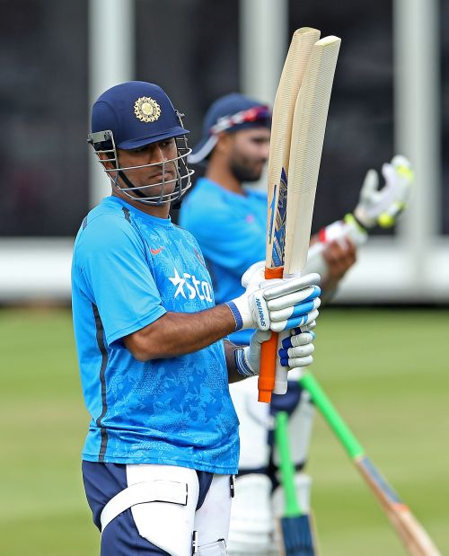 MS Dhoni during a training session