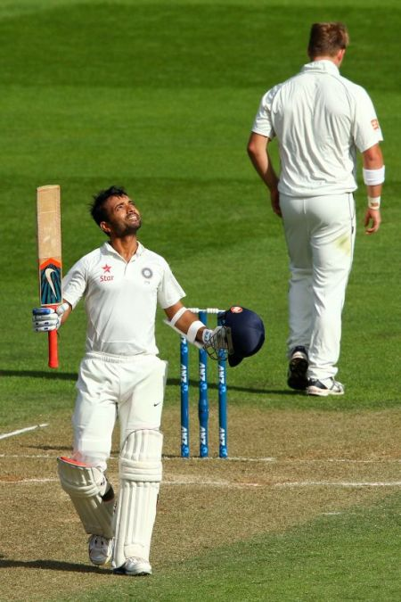 Ajinkya Rahane celebrates after scoreing a hundred in the second Test