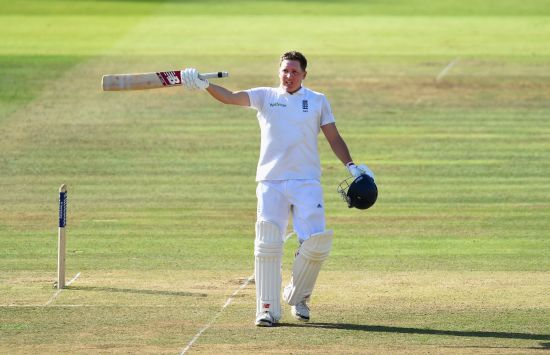 England batsman Gary Ballance celebrates after scoring a century on Day 2 of the Lord's Test against India