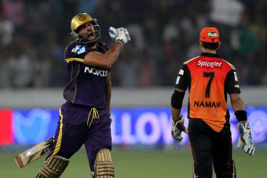 Yusuf Pathan reacts after winning the match