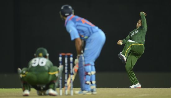 Saeed Ajmal bowls to Yuvraj Singh