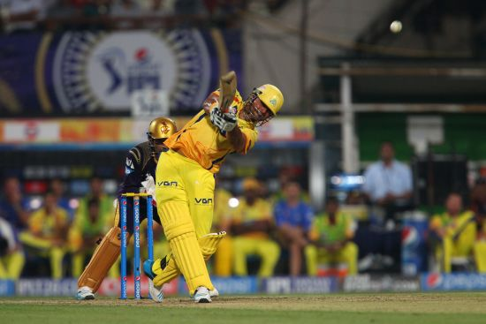 Suresh Raina hits a six