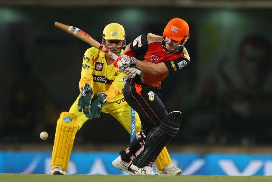 David Warner plays one through the leg side.