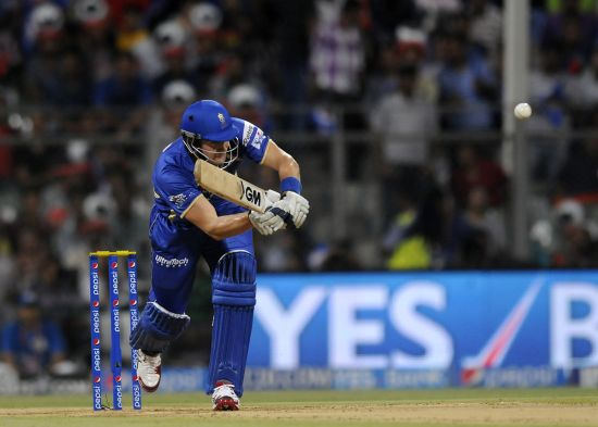 Shane Watson plays one through the on-side.