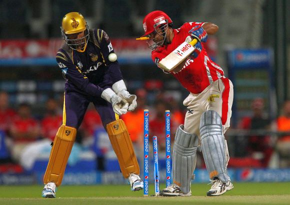 Virender Sehwag is clean bowled by Piyush Chawla