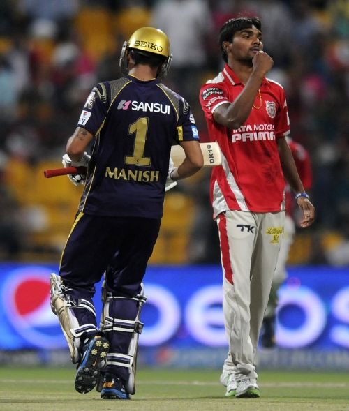 Sandeep Sharma celebrates after dismissing Gautam Gambhir