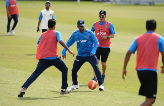 MS Dhoni during a warm-up session in Leeds