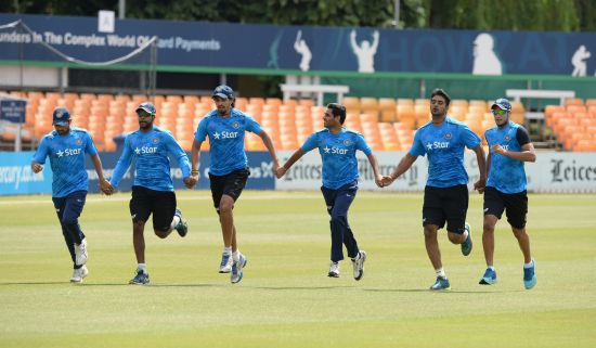 Indian players during a warm-up session