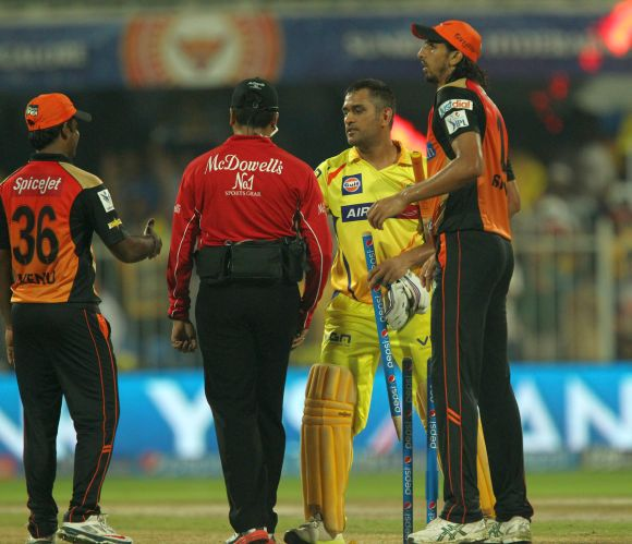 MS Dhoni shakes hands after winning the game