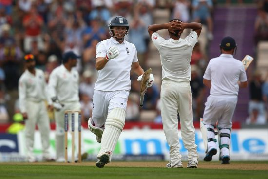 Gary Ballance of England celebrates reaching his century during day one of the 3rd Investec Test match between England and India