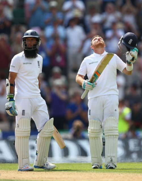 Ian Bell (R) of England celebrates reaching his century alongside Moeen Ali (L) during day two of the 3rd Investec Test