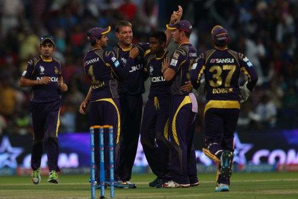 Kolkata Knight Riders players celebrate after picking up a wicket