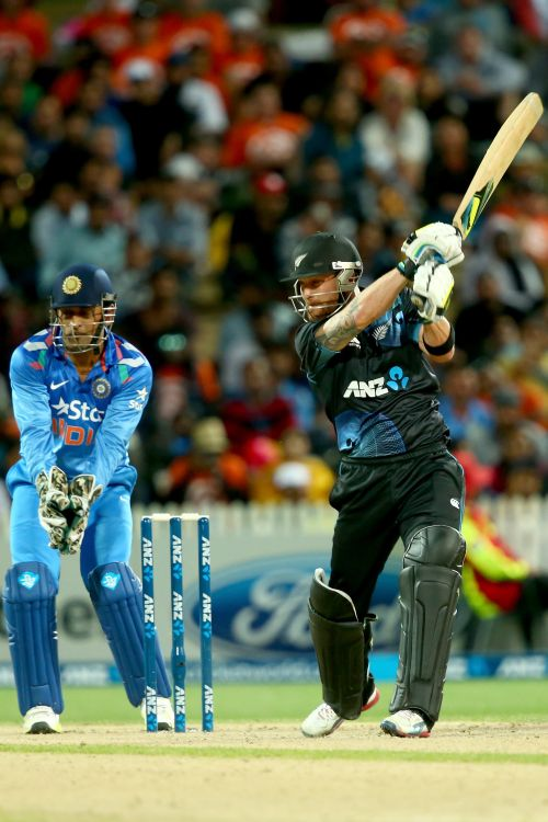 Brendon McCullum hits one to boundary