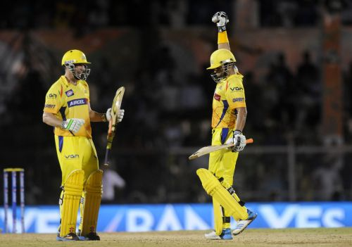 Suresh Raina celebrates with David Hussey after winning the game for Chennai.