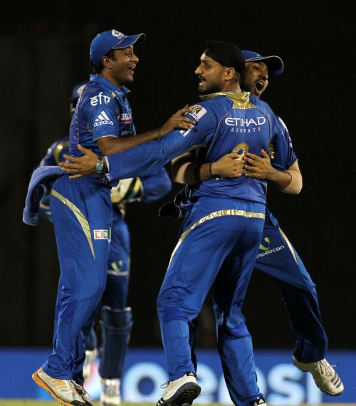 Harbhajan Singh celebrates after picking up a wicket
