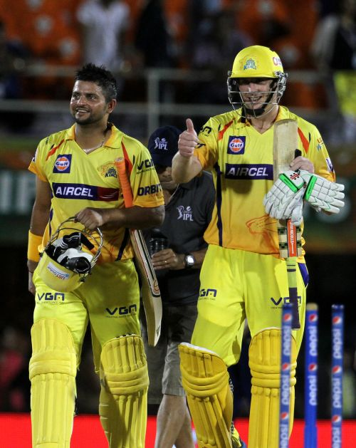 David Hussey and Suresh Raina react after winning the game for Chennai.