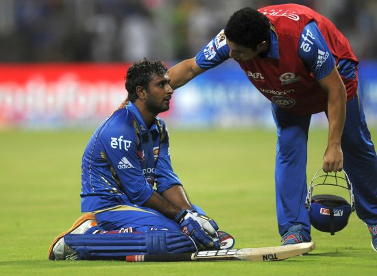 Ambati Rayudu reacts after being dismissed.