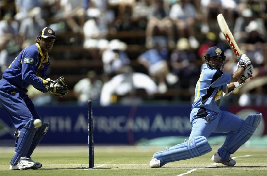 Sachin Tendulkar bats during 2003 World Cup match against Sri Lanka