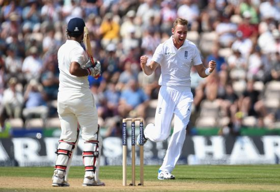 England bowler Stuart Broad celebrates after having India batsman Cheteshwar Pujara caught by Jos Buttler to claim his 250th Test wicket