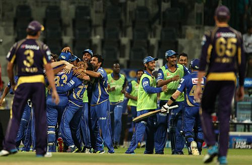 Rajasthan players celebrate after winning the game