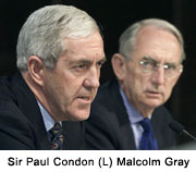 Sir Paul Condon (L) Malcolm Gray