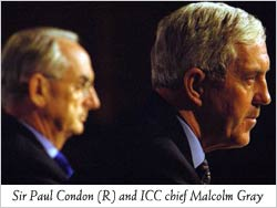 ICC investigator Sir Paul Condon