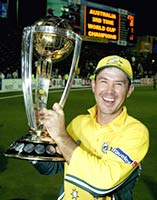 Ricky Ponting with the World Cup 2003 trophy
